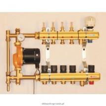 Rozdzielacz 4 sekcyjny z mieszaczem pompowym i przepływomierzami TECEfloor